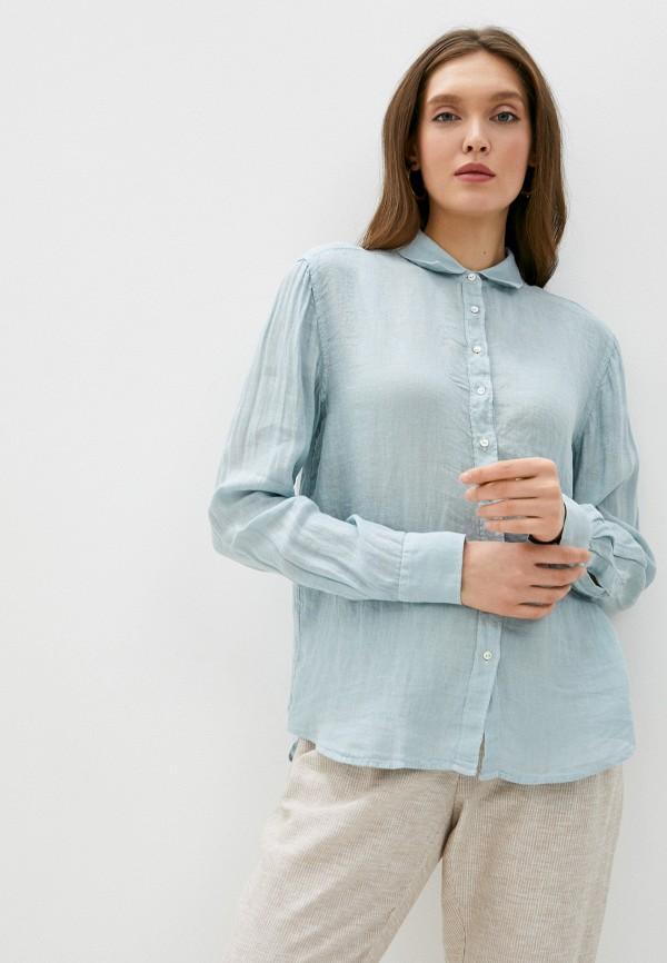 женская рубашка с длинным рукавом pepe jeans london, бирюзовая