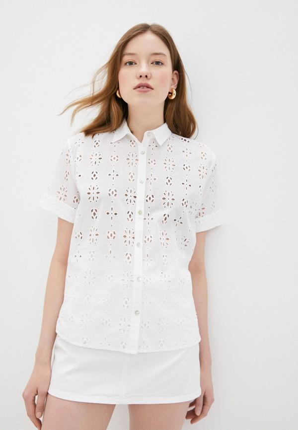 женская рубашка с коротким рукавом pepe jeans london, белая