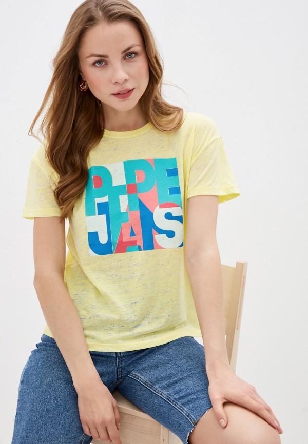 женская футболка pepe jeans london, желтая