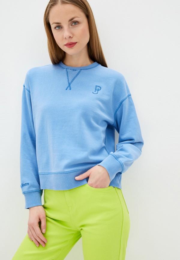 женский свитшот pepe jeans london, голубой