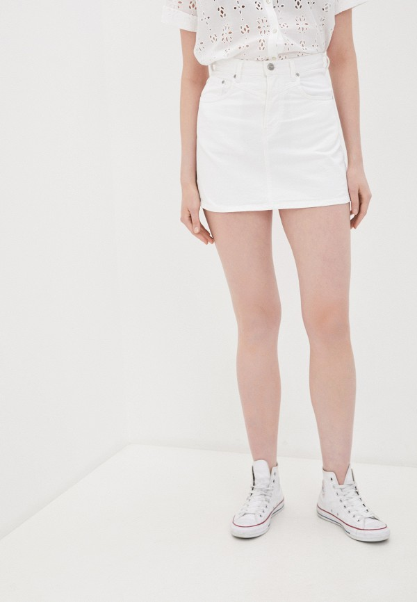 женская узкие юбка pepe jeans london, белая