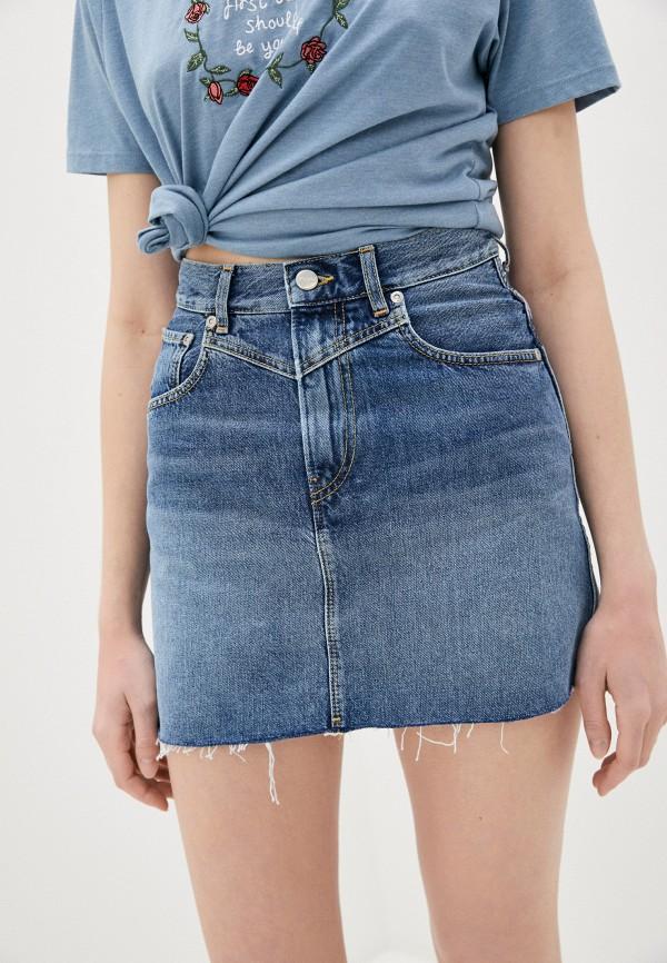 женская джинсовые юбка pepe jeans london, голубая