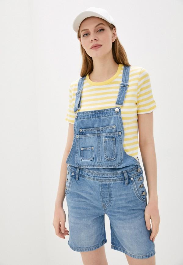 женский джинсовые комбинезон pepe jeans london, голубой