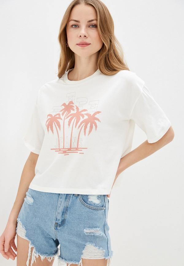 женская футболка pepe jeans london, бежевая
