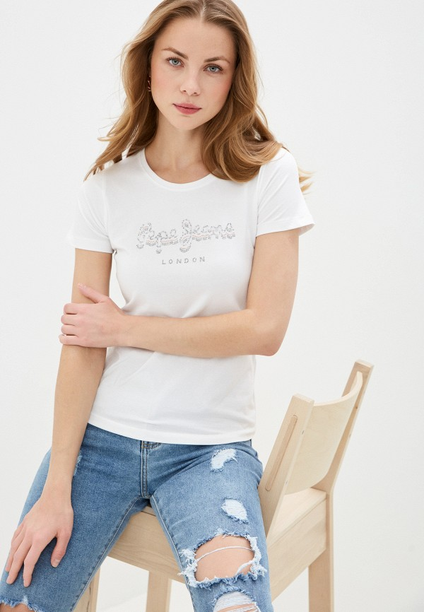 женская футболка pepe jeans london, белая