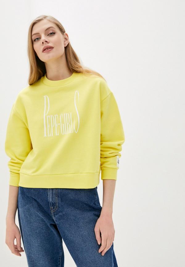 женский свитшот pepe jeans london, желтый