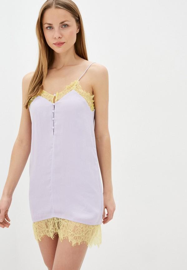 женское платье-комбинация pepe jeans london, фиолетовое