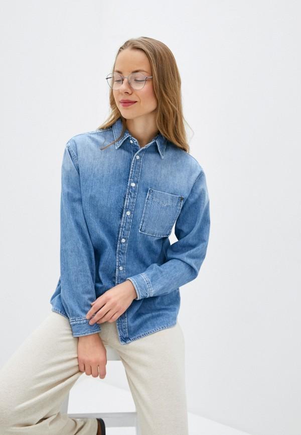 женская джинсовые рубашка pepe jeans london, голубая