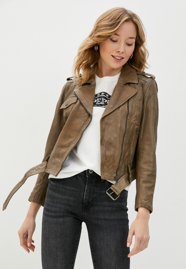 женская куртка косухи pepe jeans london, бежевая