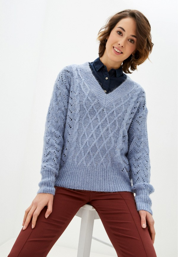 женский пуловер pepe jeans london, голубой
