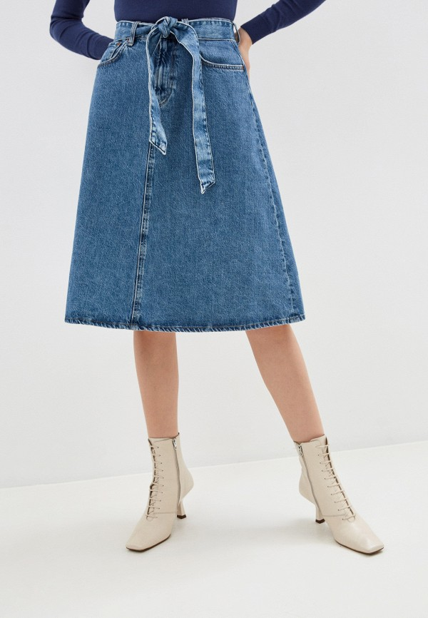 женская джинсовые юбка pepe jeans london, синяя