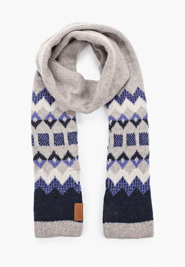 мужской шарф pepe jeans london, серый