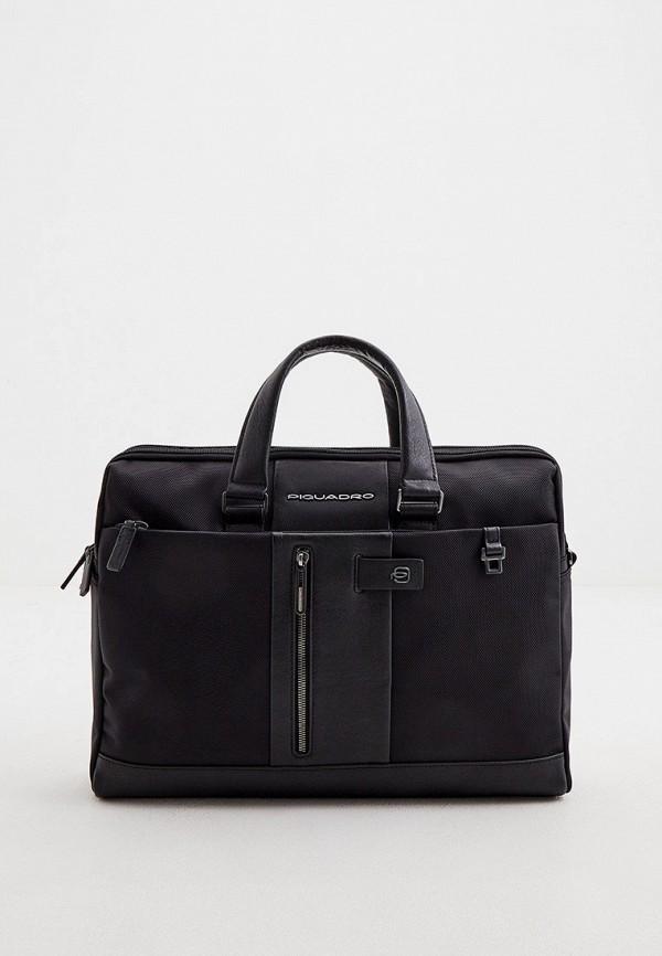 мужская сумка с ручками piquadro, черная