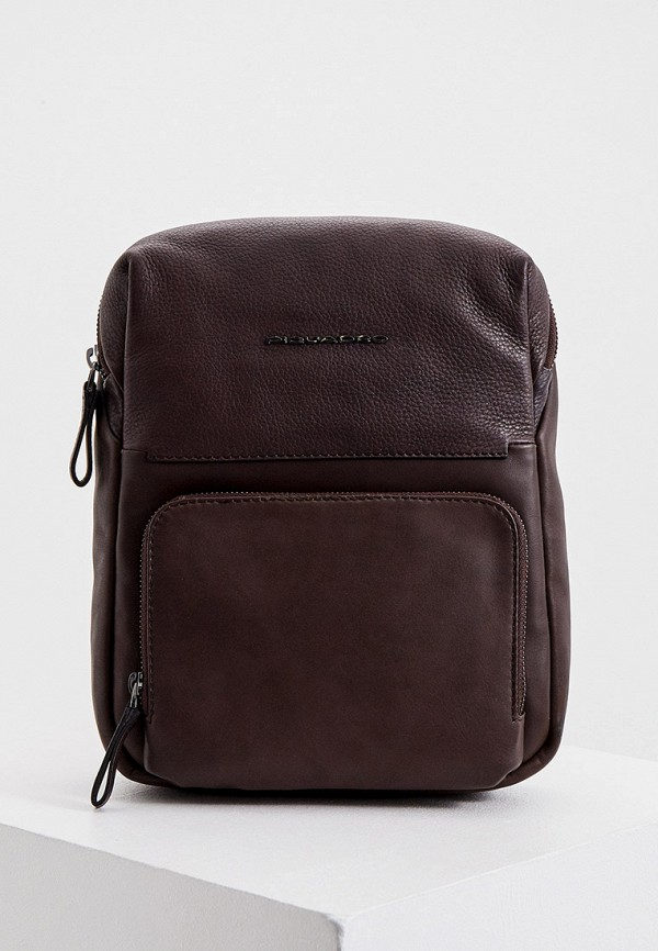 мужская сумка через плечо piquadro, коричневая