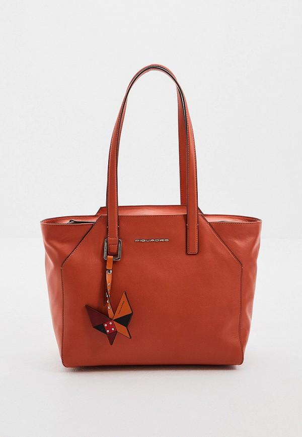 женская сумка piquadro, оранжевая