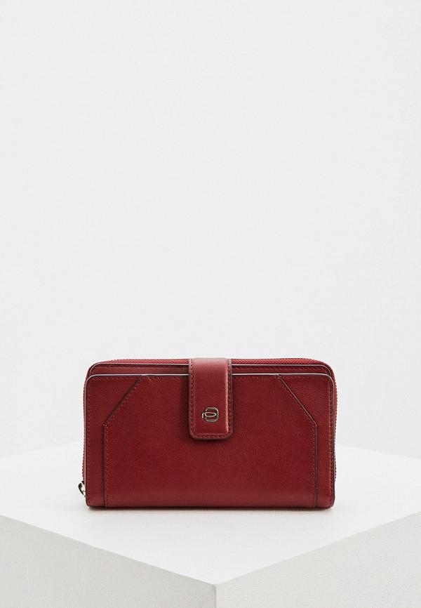 женский кошелёк piquadro, бордовый