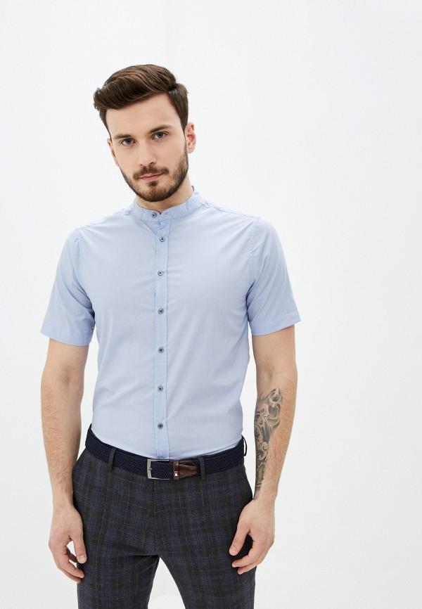 мужская рубашка с коротким рукавом piazza italia, голубая