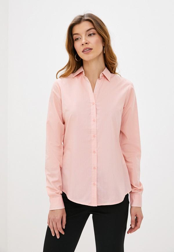 женская рубашка с длинным рукавом piazza italia, розовая