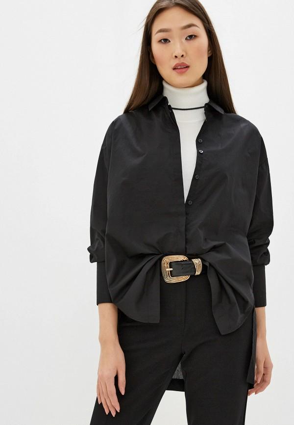 женская рубашка с длинным рукавом piazza italia, черная