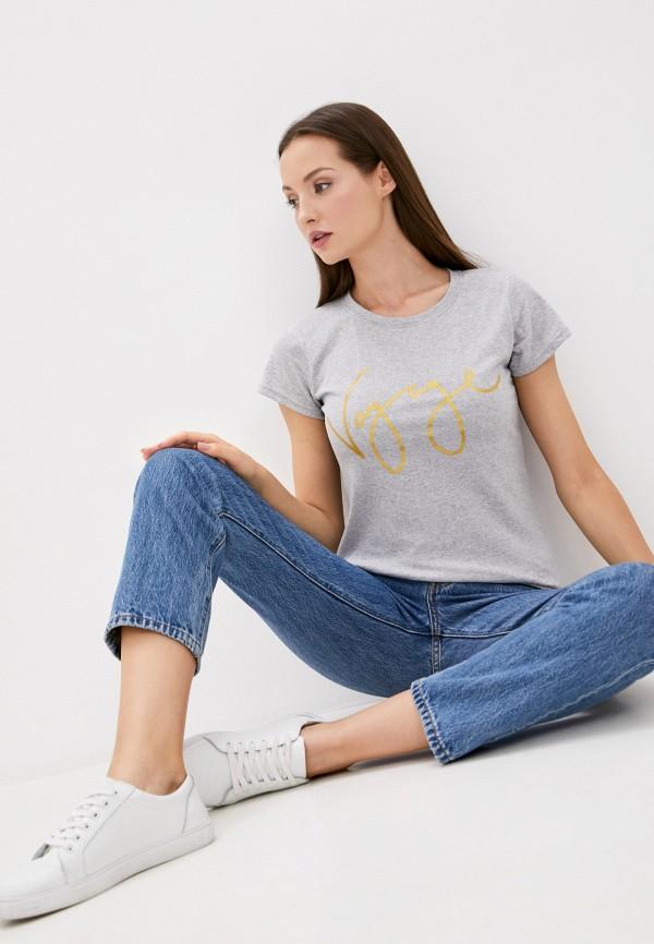 женская футболка pink frost, серая