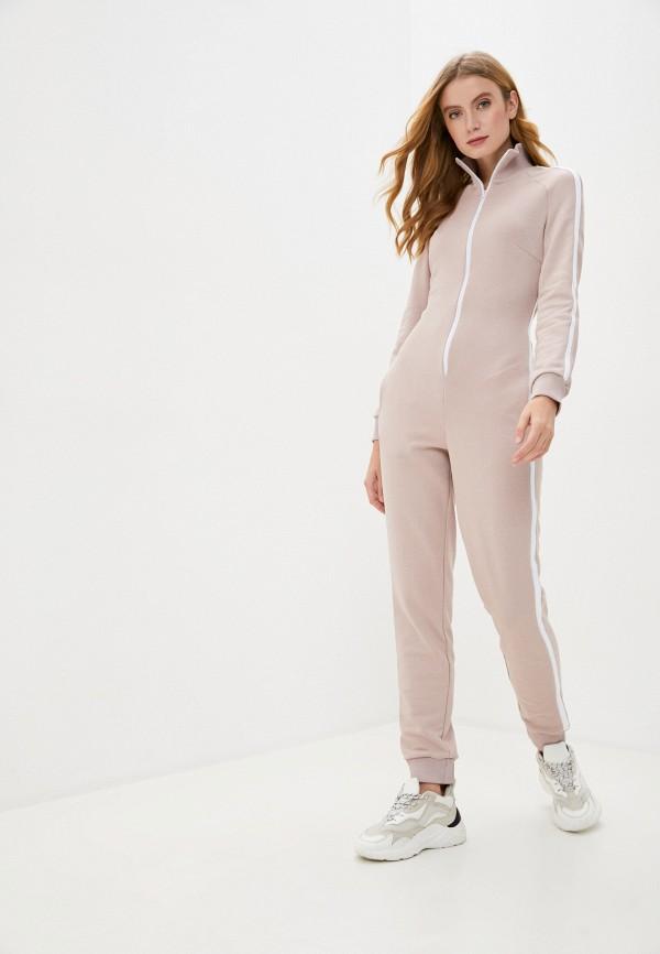 женский спортивные комбинезон pink frost, бежевый