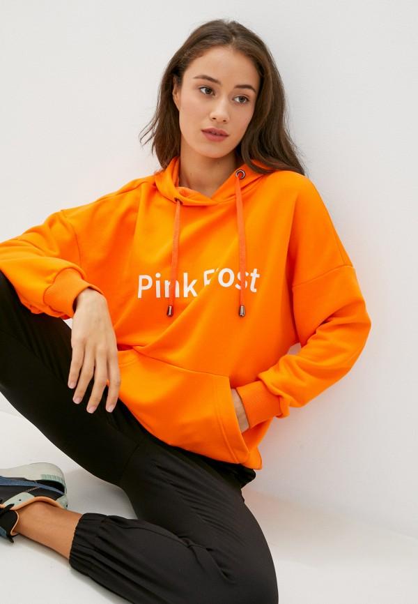 женские худи pink frost, оранжевые