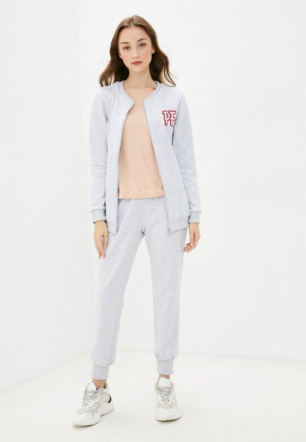 женский спортивный костюм pink frost, серый