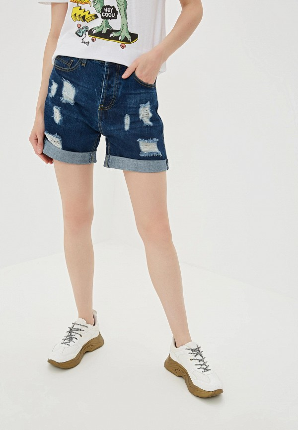 Купить Шорты джинсовые Pink Woman синего цвета