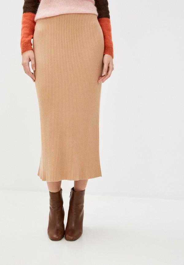 женская зауженные юбка pietro brunelli milano, бежевая