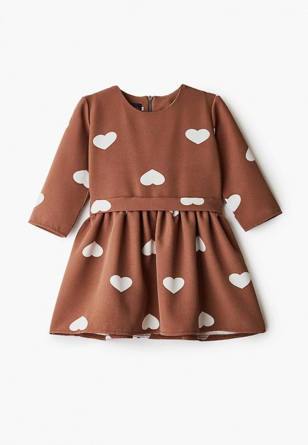 повседневные платье pink kids для девочки, коричневое