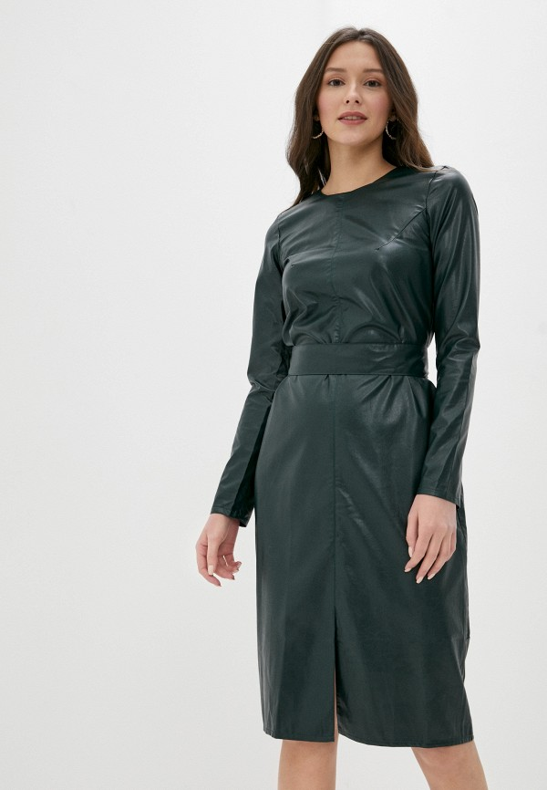 женское платье pink orange, зеленое