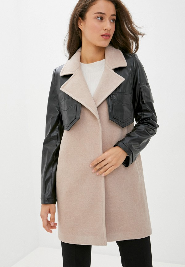 женское пальто pink orange, бежевое