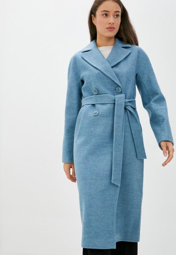 женское пальто pink orange, голубое