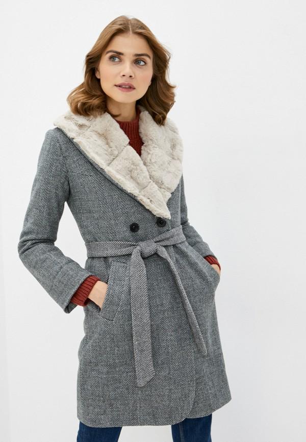 женское пальто pink orange, серое