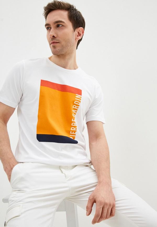 мужская футболка с коротким рукавом pierre cardin, белая