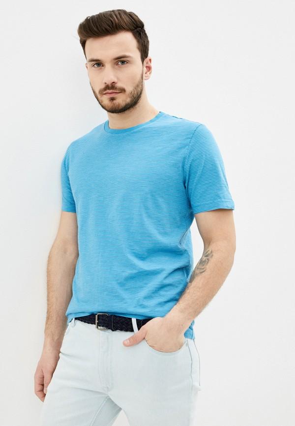 мужская футболка с коротким рукавом pierre cardin, голубая