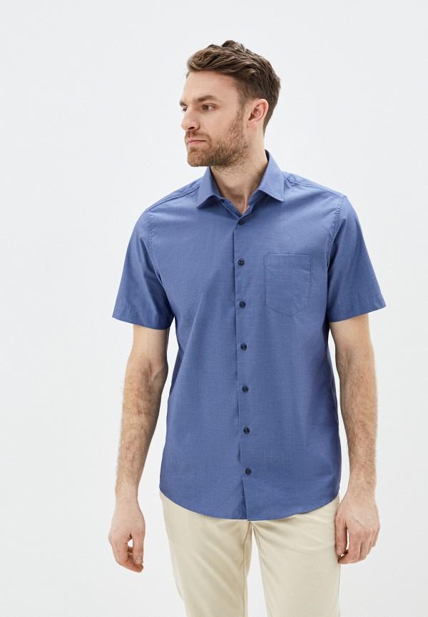 мужская рубашка с коротким рукавом pierre cardin, синяя