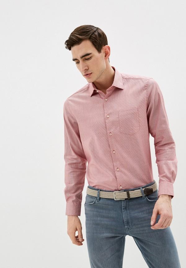 мужская рубашка с длинным рукавом pierre cardin, красная