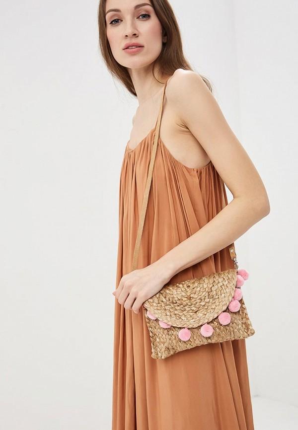 Фото 4 - женскую сумку Pieces бежевого цвета