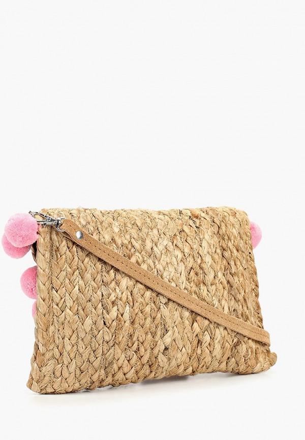Фото 2 - женскую сумку Pieces бежевого цвета