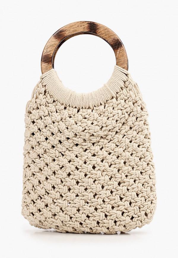женская сумка pieces, бежевая