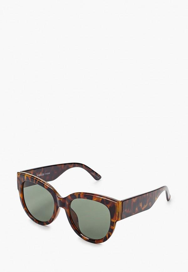 женские солнцезащитные очки pieces, коричневые