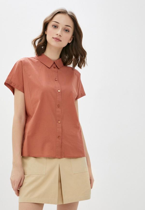 женская рубашка с коротким рукавом pieces, коричневая