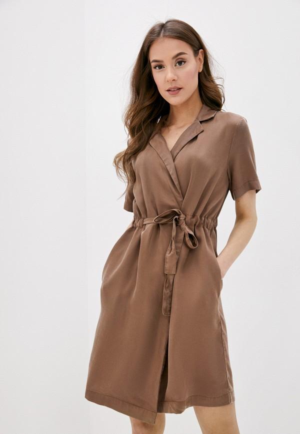 женское платье pieces, коричневое