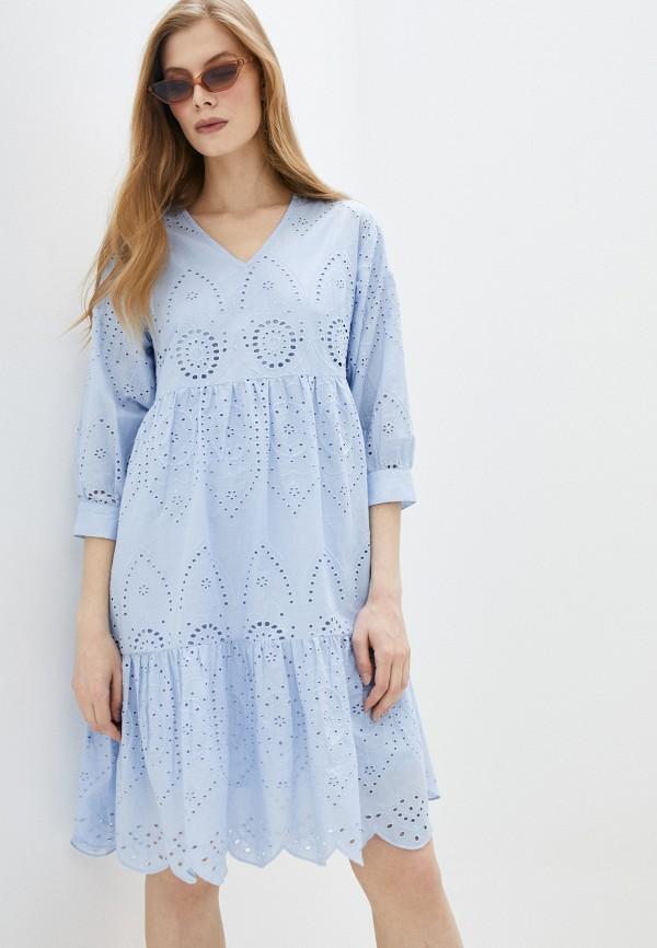 женское повседневные платье pieces, голубое