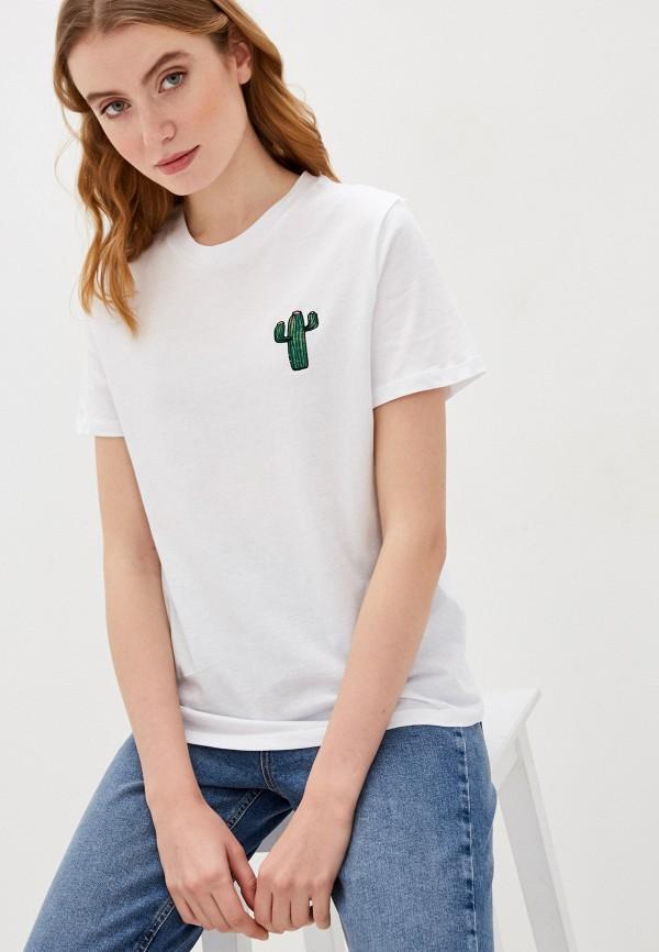 женская футболка pieces, белая