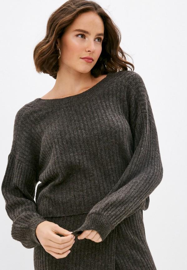 женский пуловер pieces, коричневый