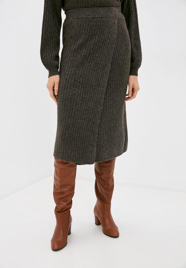 женская прямые юбка pieces, коричневая
