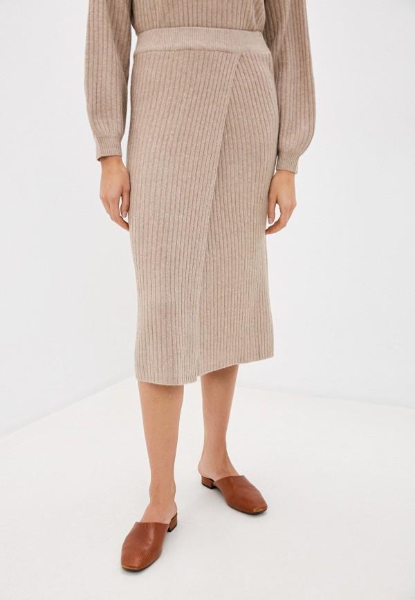 женская прямые юбка pieces, бежевая