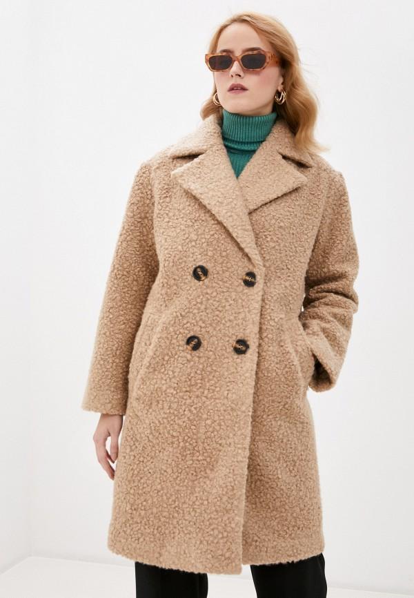 женское пальто pieces, бежевое